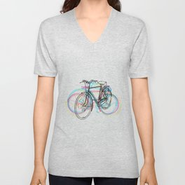 Artistic modern pink teal abstract bicycles art Unisex V-Neck