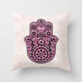 Watercolor Black  Pink Hamsa Hand Throw Pillow
