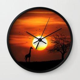 Giraffe sundown Wall Clock