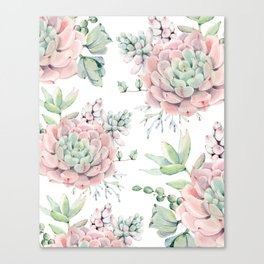 Pretty Pink Succulents Garden Canvas Print