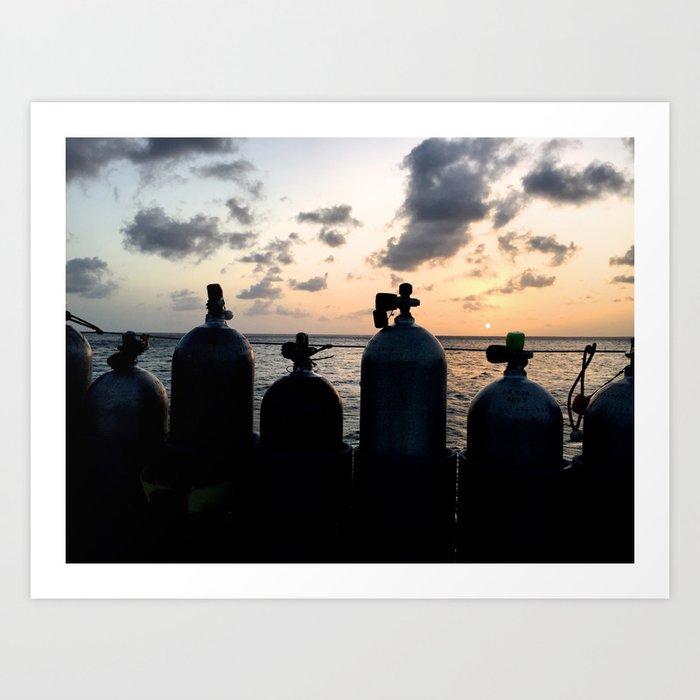 Scuba Sunset Kunstdrucke