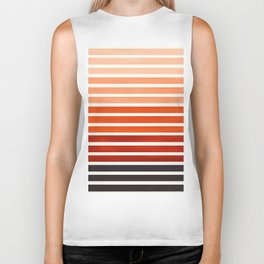 Burnt Sienna Minimalist Abstract 15 Stripes Watercolor Gradient Biker Tank