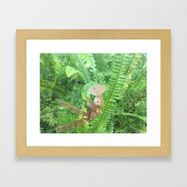 She Flies Around in the Spring Ferns Framed Art Print