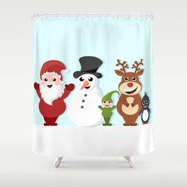 Christmas cartoon characters - Santa Claus, snowman, reindeer, elf and penguin Shower Curtain