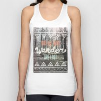 black white Tank Tops featuring Wander by Wesley Bird