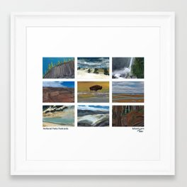 National Parks Postcards Framed Art Print