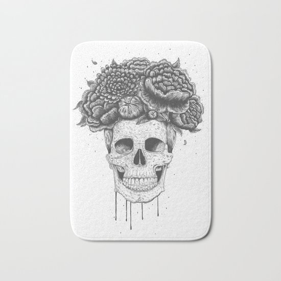 Skull with flowers Bath Mat
