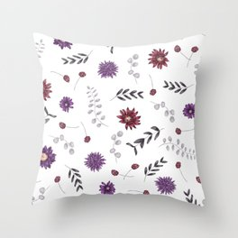 Purple Fall Flower Print Throw Pillow