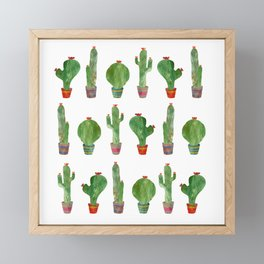 Green Cactus Pattern Framed Mini Art Print
