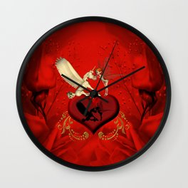 Cute little fairy with pegasus on a heart Wall Clock