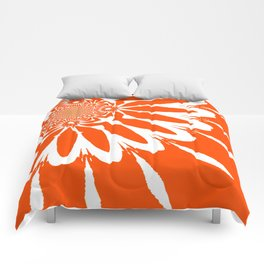 The Modern Flower Orange Comforters