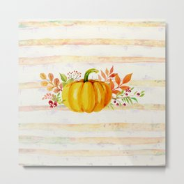 Pumpkin in Watercolor with Striped Background Metal Print