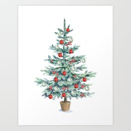 Christmas tree with red balls Art Print