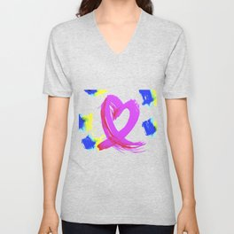 Pink Heart Ribbon (with Tie-Dye Blue-Yellow) for Breast Cancer Research by Jeffrey G. Rosenberg Unisex V-Neck