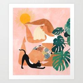 Tropical Yoga #illustration #tropical Art Print