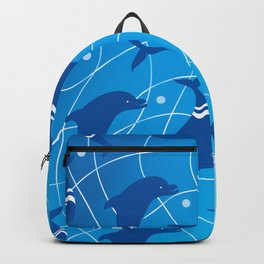 Dolphins on the Wave_E02 Backpack