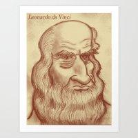 da vinci Art Prints featuring Leonardo da Vinci by Roberto Núñez