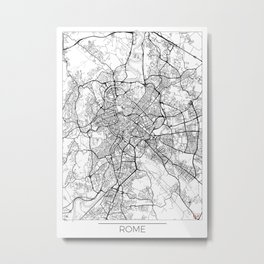 Rome Map White Metal Print