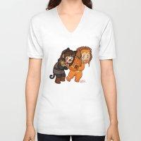 fili V-neck T-shirts featuring Halloween Fili and Kili by Hattie Hedgehog