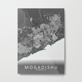 Mogadishu Somalia City Map Metal Print