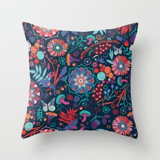 Ripe autumn – cyan and red Throw Pillow