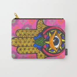 Hand colored Hamsa Carry-All Pouch