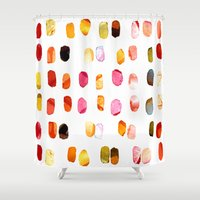 aelwen Shower Curtains featuring strokes of colors by clemm