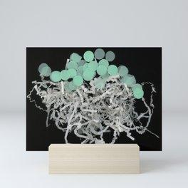 Blue Moons Running minimalist movement dark background art Mini Art Print