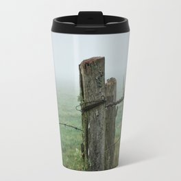 Fence post and fog Travel Mug