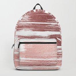 White elegant faux rose gold modern brushstrokes Backpack