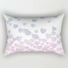 Hearts falling ombre blue and pastel pink cotton candy wonderland Rectangular Pillow