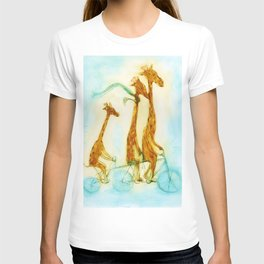 Family of giraffes rides a bicycle-tandem T-shirt
