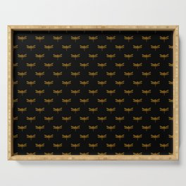 Golden Dragonfly Repeat Gold Metallic Foil on Black Serving Tray
