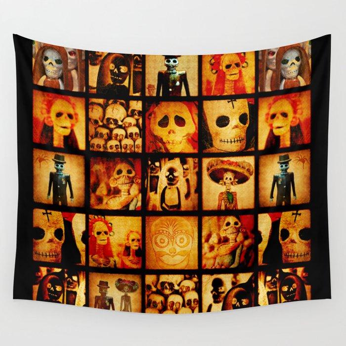 Spooky Calavera Skulls Wall Tapestry