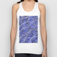 navy Tank Tops featuring Tropical Navy by Cat Coquillette