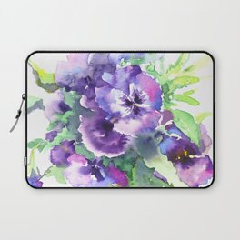 Pansy, flowers, violet flowers, gift for woman design floral vintage style Laptop Sleeve