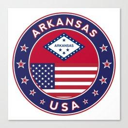 Arkansas, Arkansas t-shirt, Arkansas sticker, circle, Arkansas flag, white bg Canvas Print