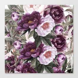 Purple Plum Pink Watercolor Peonies and Greenery Canvas Print