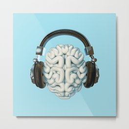 Mind Music Connection /3D render of human brain wearing headphones Metal Print