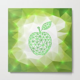 Green triangle apple with background Metal Print