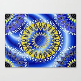 blue and yellow mandala pattern by Saribelle Canvas Print