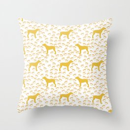 Big Yellow Dog and Paw Prints Throw Pillow