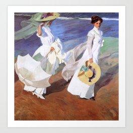 Joaquin Sorolla - Walk on the Beach Art Print