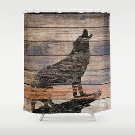 Rustic Wolf Silhouette A383 Shower Curtain
