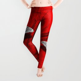 Silver butterfly emerging from the red depths Leggings