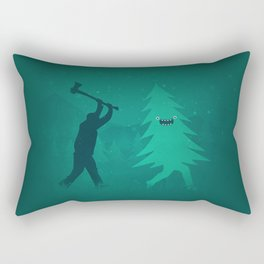 Funny Christmas Tree Hunted by lumberjack (Funny Humor) Rectangular Pillow