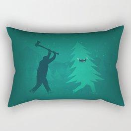 Funny Christmas Tree Hunted by lumberjack (Funny Humor) Rectangular Pillow