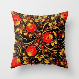 Russian khokhloma Throw Pillow