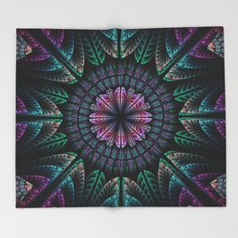 Magical dream flower, fractal abstract Throw Blanket