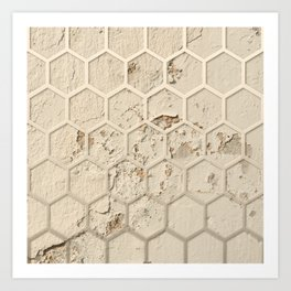 Hexagon on Beige Grunge Wall Art Print